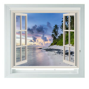 Tropical Beach Window Sea View Printed Photo Black Out Roller Blinds 2 3 4 5 6ft