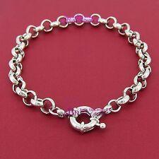 Women Real Solid 14k White Gold GF Belcher Chain Bolt Ring Clasp Bracelet Bangle