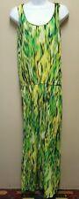Jones NEW YORK SMALL Green Striped Sleeveless Cotton Dress Long Maxi