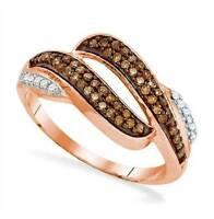 10K Rose Gold Chocolate Brown & White Diamond Ring .33ct Open Twist Design