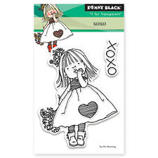 New Penny Black XOXO Mini Clear Stamp Child Girl Love Heart Flower Kiss Friend