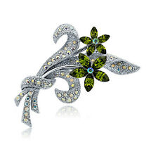 Shiny Silver Plated Green Flower Bouquet Batch Prom Wedding Brooch Pin BR256