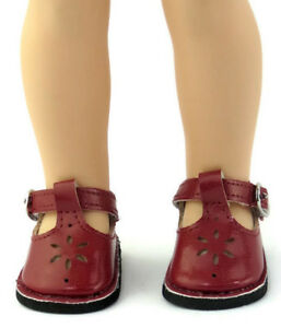 Burgundy Mary Jane Shoes for 14.5 inch American Girl Wellie Wishers Dolls