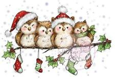 New Wild Rose Studio Clear cling rubber stamp OWLS ON BRANCH Christmas Winter