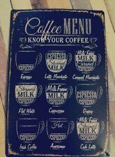Vintage Coffee Menu Tin Sign Bar Pub Cafe Home Wall Decor Metal Art Posters E7C