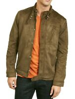 INC Mens Dryden Racer Jacket Olive Green Large L Faux Suede Buckle-Trim $129 307