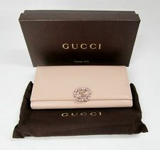 GUCCI WALLET SALMON LEATHER SWAROVSKI CRYSTALS JEWEL EMBELLISHED PINK GG LOGO