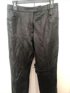 Ann Taylor Women's Vintage Black 100% Leather Pants Size 10