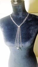 "Jennifer Lopez 22"" Multi Strand Fringe Y Silver Necklace NEW Hurry"