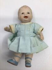 "4 1/2"" Porcelain Bisque Doll. Bottom Tooth! Cutie!"