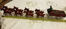 "Budweiser Cast Iron Eight Clydesdale Horses and Wagon dog two men 30"" long"