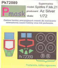 SUPERMARINE SPITFIRE F MK-21 PAINTING MASK TO AZ SILVER KIT #72089 1/72 PMASK