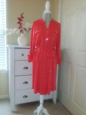 DANA BUCHMAN Red Soft Stretch Buttons Down Dress Flexible/Roll Up Sleeves Sz.L