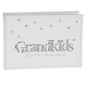 Grandkids Photo Album - Holds 24 6x4 Pictures - White & Silver