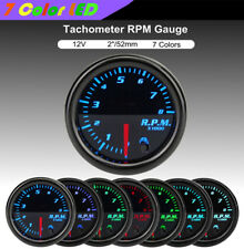 """12V Metal 2"""" 52mm 7 Color LED Car Digital Tachometer Tach Gauge Meter 0-8000RPM"""