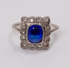 Antique Art Deco Cobalt Blue Glass & Spinel Cocktail Ring