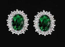 925 ECHT SILBER RHODINIERT *** Ohrstecker Zirkonia smaragd grün 11 mm