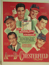 1948 Chesterfield Baseball Man's Cigarette 7 Stars Store Color Sign Ad Poster