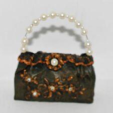JC Penney LEATHER & LACE Olive & Bronze & Pearl Purse Handbag Ornament