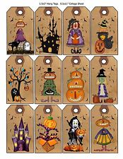 12 Primitive Halloween Hang Tags Scrapbooking Paper Crafts (84)