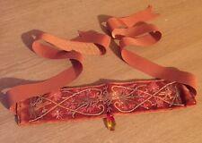 elena khudiakova Designer Orange Gem Beaded Necklace Choker Ribbon Rrp £385