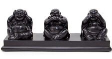 Three Wise Buddhas Laughing Buddha Ornament Black Resin Good Luck Sculpture 20cm