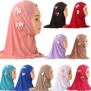 Girls Kids Muslim Hijab Islamic Arab Scarf Shawls Flowers Headscarf Arab Caps