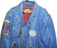 Harley Davidson Vintage Panhead Denim Lined Convertible Vest / Jacket MEDIUM