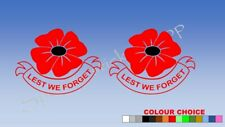 2x Poppy Day Lest We Forget Remembrance Car Decal Vinyl Sticker For window A441