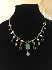 "Nicky Butler Turquoise Bib Drop , Moon Stone 19"" Necklace"