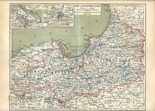 Carta geografica antica PRUSSIA OCCIDENTALE e ORIENTALE 1890 Old antique map