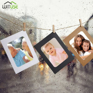 DIY Wall Photo Frame Display Hanging Kraft Paper Picture Frames Clips 3/5/6''