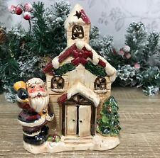 Church with Father Christmas Ceramic Glazed Christmas Santa Claus Ornament 4764