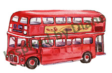 Handmade transparent sticker from painted, Red painted london bus, decal