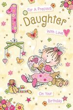 DAUGHTER 1st BIRTHDAY CARD AGE 1 QUALITY CARD WITH BEAUTIFUL VERSE BY GRASS ROOT