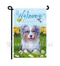 Australian Shepherd dog Garden Flag Welcome Aussie art painting Summer Decor