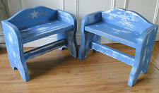 childrens wooden stools step stools shabby chic stools pair of.