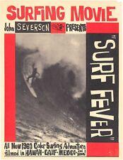 "1960 ""SURF FEVER"" Surfing Movie Flyer! John Severson Classic! Surfer Magazine"