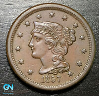 1857 Braided Hair Large Cent --  MAKE US AN OFFER!  #B6216
