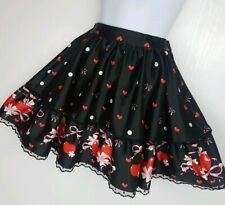 Mini skirt Size 10-12 Black Red Lolita Retro pin up hearts cherry sexy VALENTINE