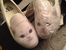 £45 RRP Womens Flat Cat Shoes  pumps  cavas  kitty cat WHITE  uk size 8  New