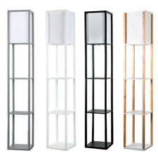 Modern Floor Lamp with Shelves Standard Lounge Light 4 Tiered Shelving Unit Home