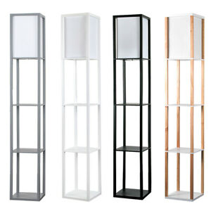 Modern Shelf Floor Standard Lamp Wooden Lounge Light 4 Tiered Shelving Unit Home
