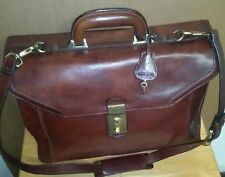 Vintage Wilson Brown Genuine Italian Leather Briefcase With key