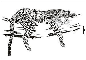 Wandschablone Maler T-shirt Schablone W-001 Leopard ~ UMR Design