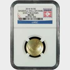 2014-W Baseball Hall of Fame $5 Gold Commemorative Coin NGC MS70 Early Releases