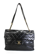 Chanel Mujeres Acolchada De Cuero Negro Tapa Extra Grande de Hombro Bolso de mano