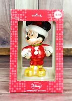 Disney Mickey Mouse Hallmark Holiday Glass Ornament Christmas NEW *FREE SHIPPING