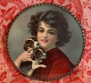 FLUE COVER LOT #82 Girl Child Holding Two Puppies Dogs