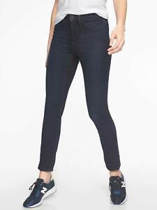 ATHLETA Dark Blue SCULPTEK Slimming Skinny Stretch Reflective Trim Jeans 10P 30